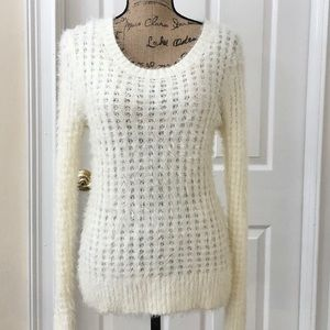 Lauren Conrad fuzzy cream sweater